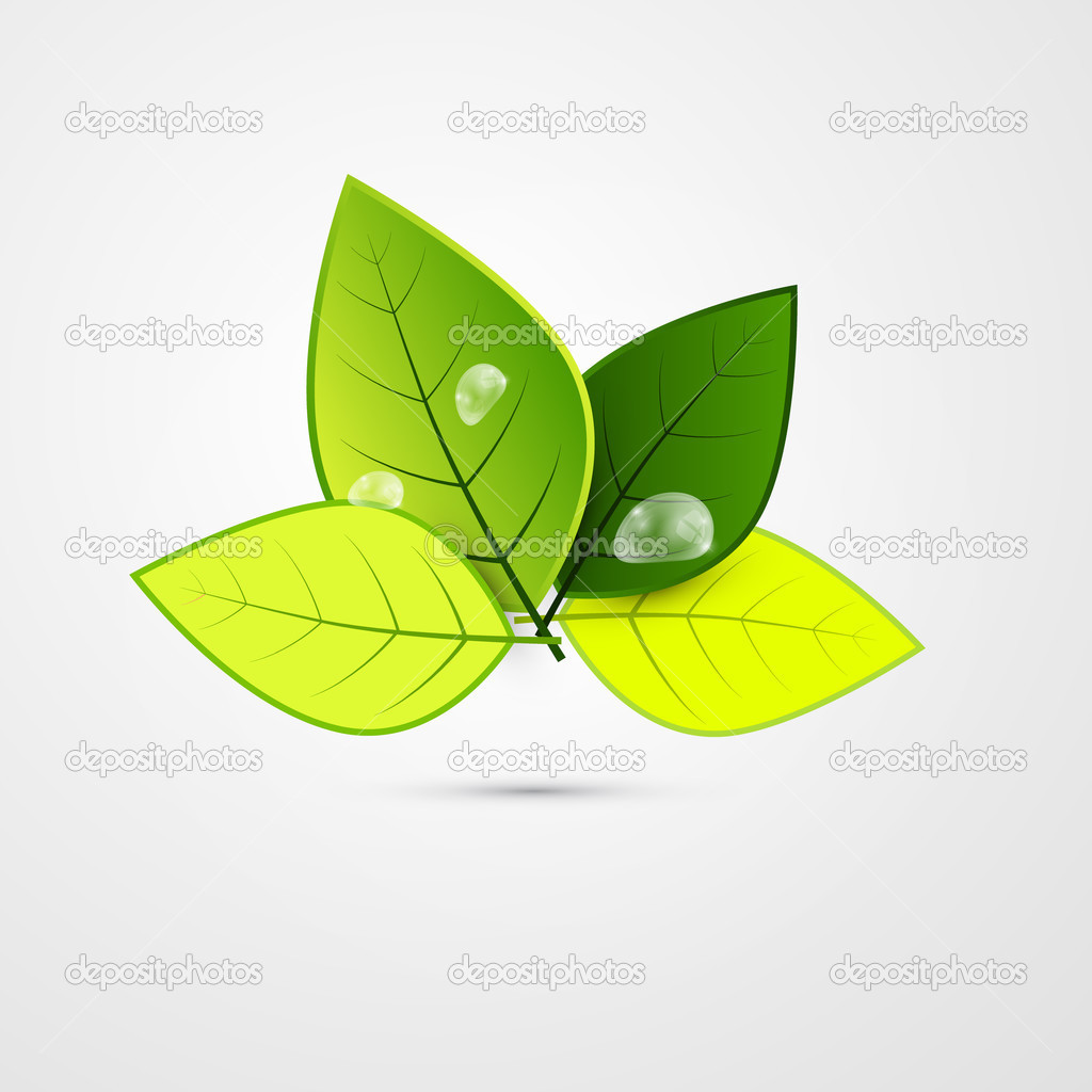Abstract Vector Green 3d Leaves Isolated on Grey Background — Stock