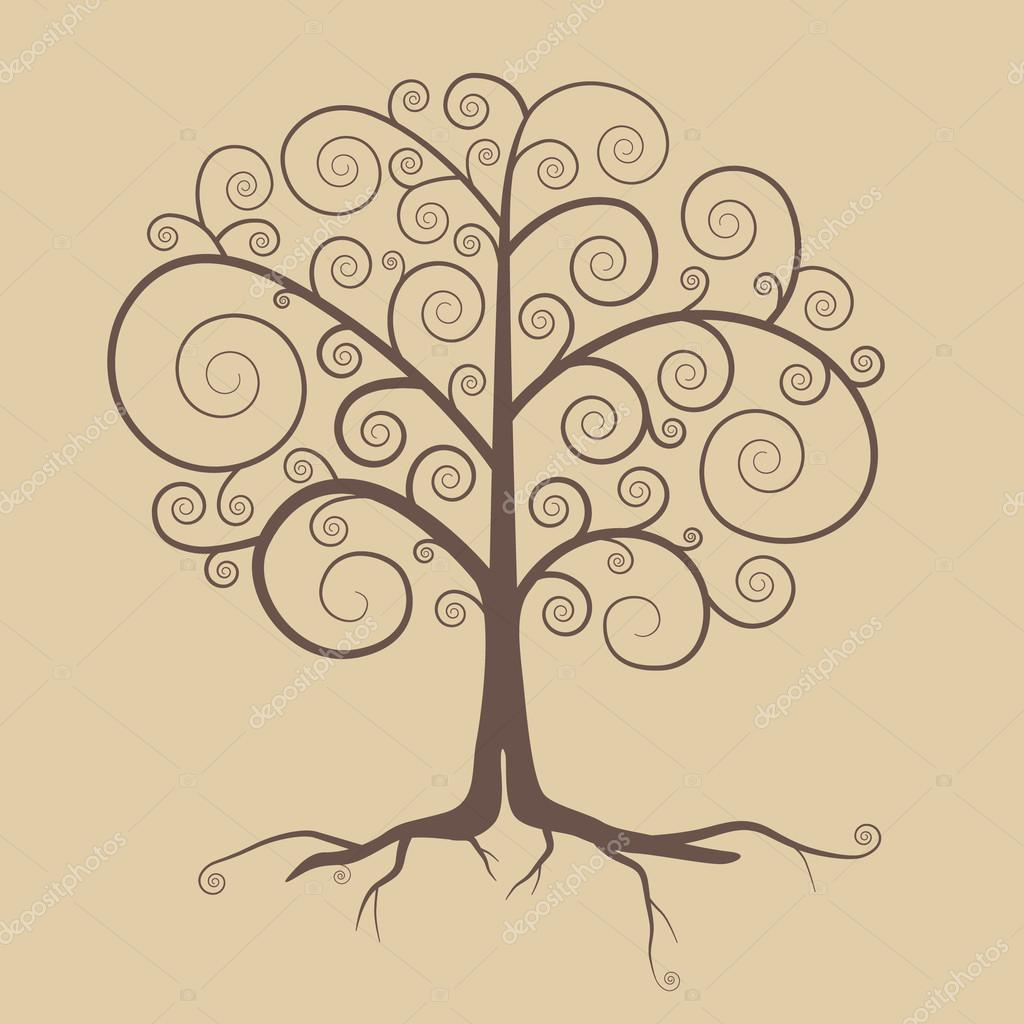 Abstract Retro Tree Illustration