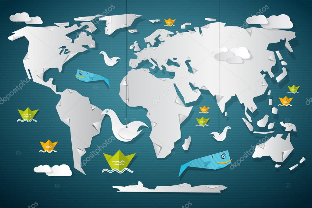 Vector Paper World Map with Fish, Boats Birds and Clouds