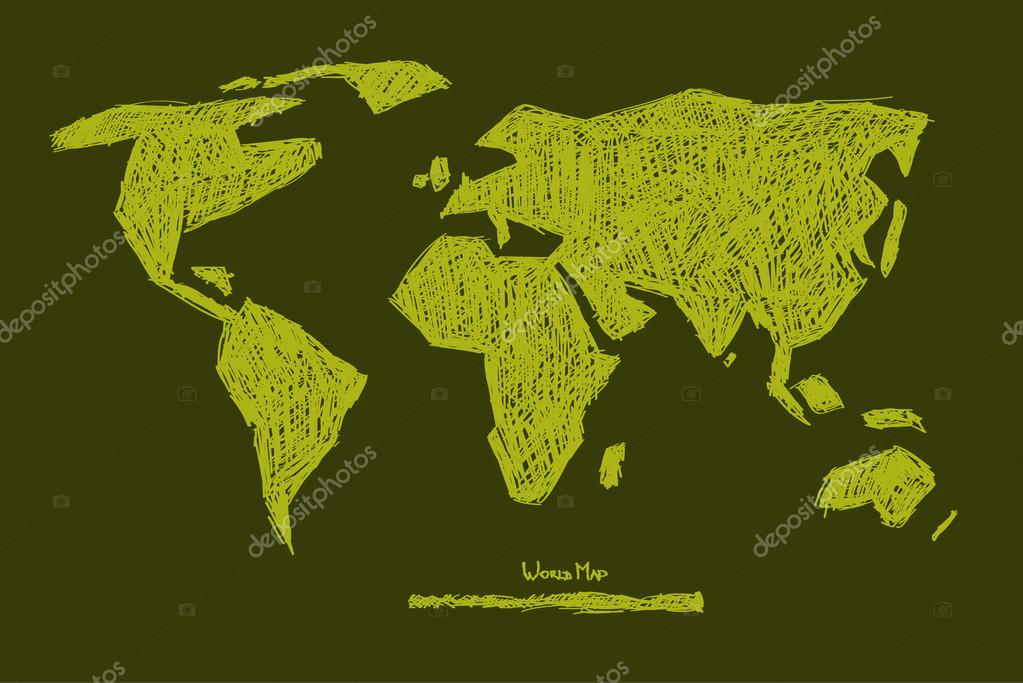 Vector Paper Hand Drawn Green World Map Illustration
