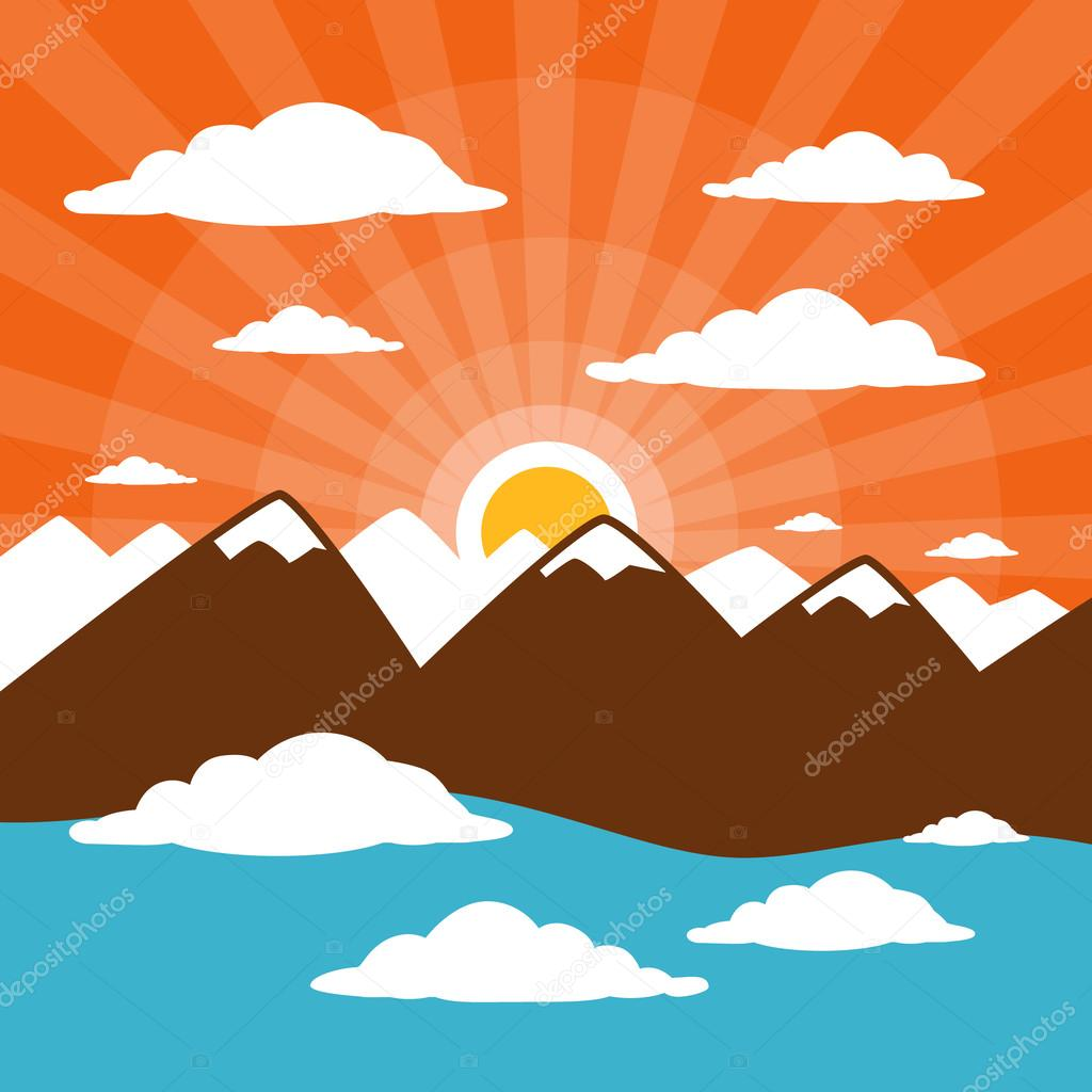 Nature Abstract Mountains Illustration with Clouds, Sun Set - Rise, Pink Sky