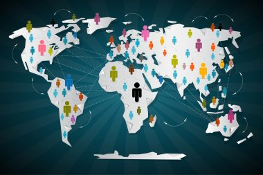 Colorful Vector People Icons on World Map - Social Media Connection Symbols