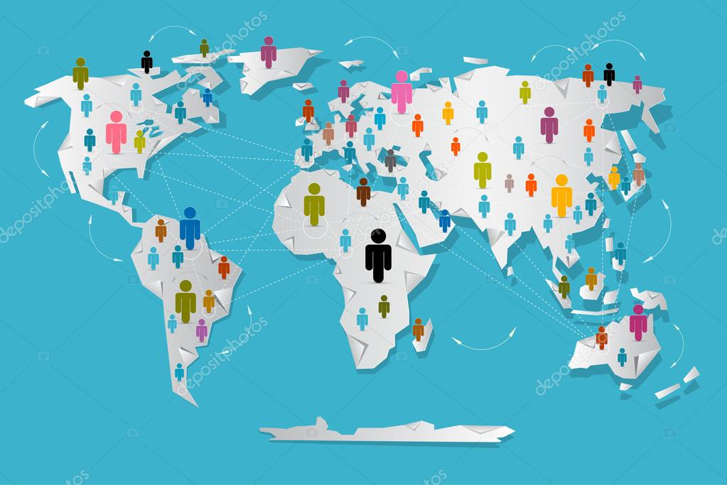 Vector People On Paper World Map Social Media Connection Symbols