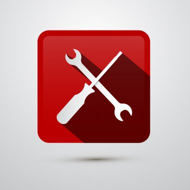Repair Tools Icon - Screwdriver and Spanner, Wrench