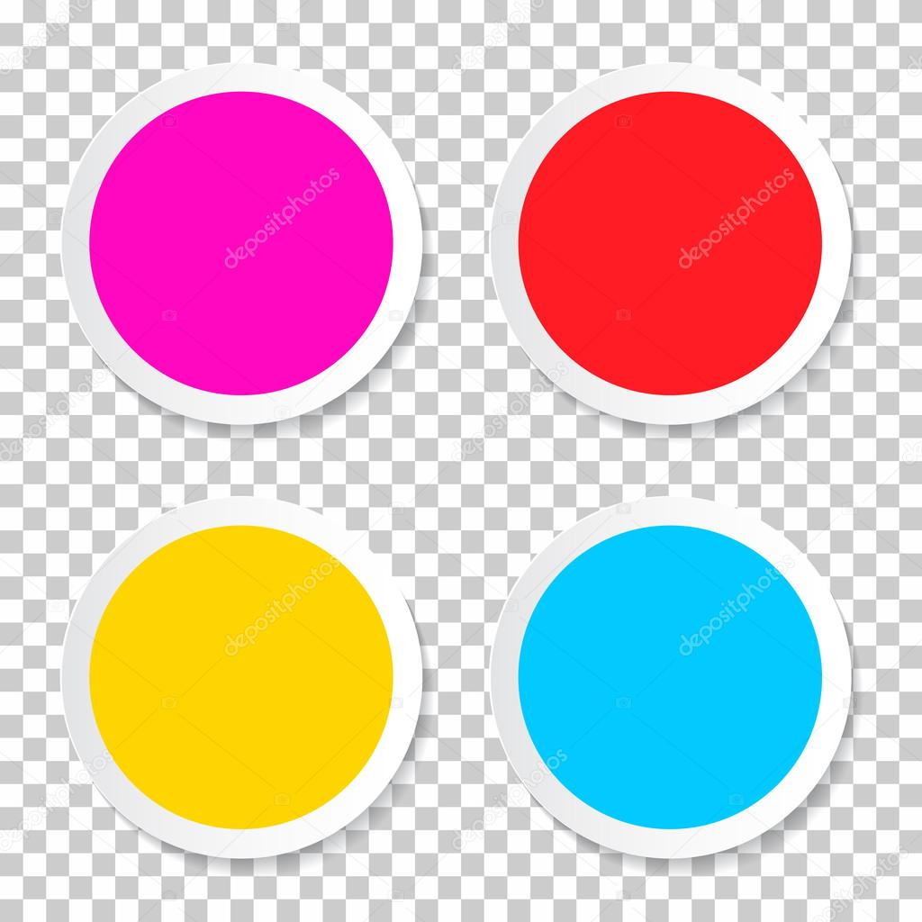 Colorful Vector Empty Circle Stickers - Labels Set on Transparent Background