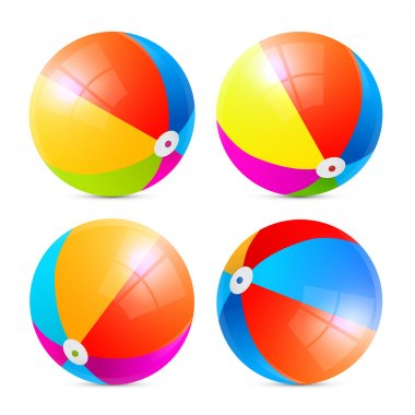 Colorful Vector Beach Balls Set Isolated on White Background