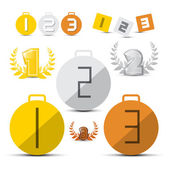 Photo Gold, Silver, Bronze - First, Second and Third Place Vector Medals - Icons Set