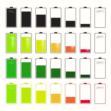 Battery Life Icons Set Set Isolated on White Background
