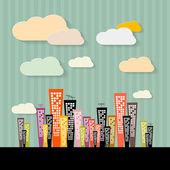 bunte abstrakte Gebäude Illustration auf Papier retro Hintergrund
