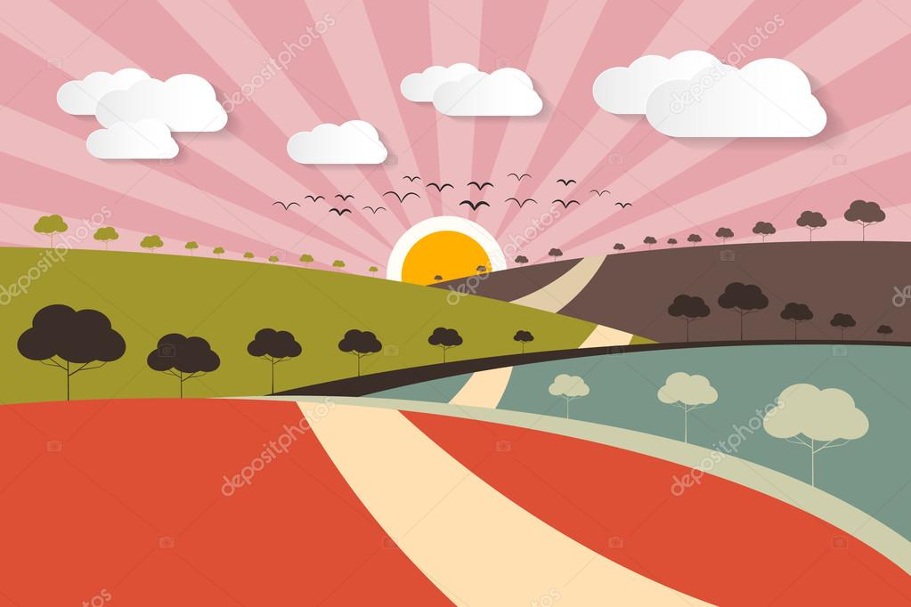 Morning - Evening Rural Paper Vector Landscape Background with Trees, Clouds