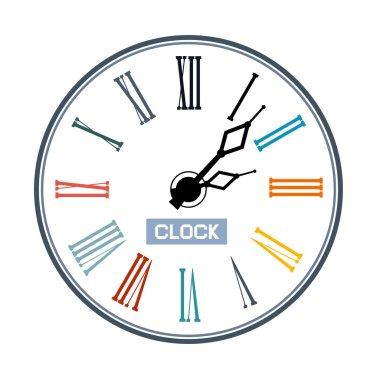 Retro Abstract Clock Face Illustration
