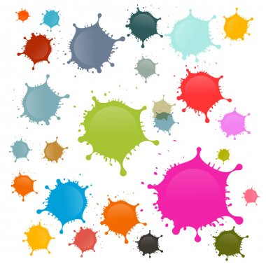 Colorful Vector Stains, Blots, Splashes Set Isolated on White Background clip art vector