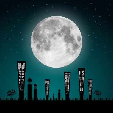 Abstract Vector Full Moon Landscape Illustration
