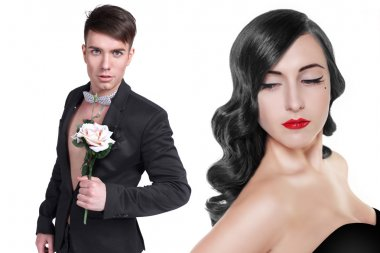 Loving couple - man with rose , the romantic date or valentines day concept