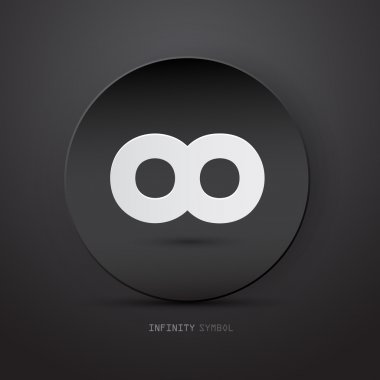 Vector infinity symbol on abstract dark circle background