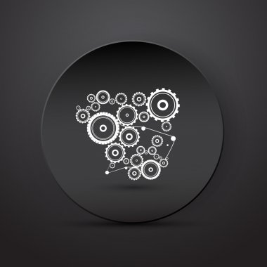 Abstract vector cogs, gears on black abstract background