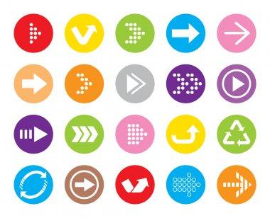 Color Arrow sign vector icon set. Simple circle shape internet button.