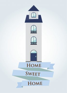 Blue Home sweet home with ribbon sign