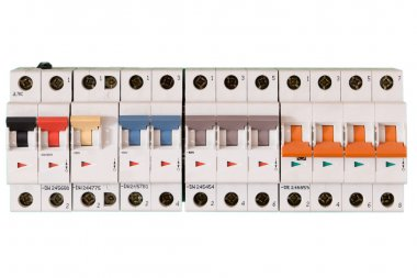 Colored electric switches in on and off mode