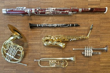 Several wind instruments laying on a wooden floor. trumpet, horn, saxophone, clarinet, flute, bassoon, curtal
