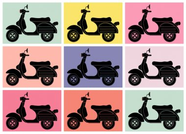 Scooter pop art.Inspiration from Andy Warhol