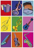 Fotografia Strumenti musicali. Pop art