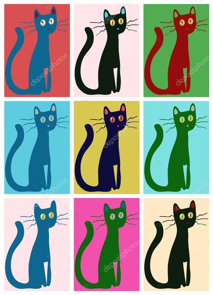 cat pop art stock vector argentique 39682589