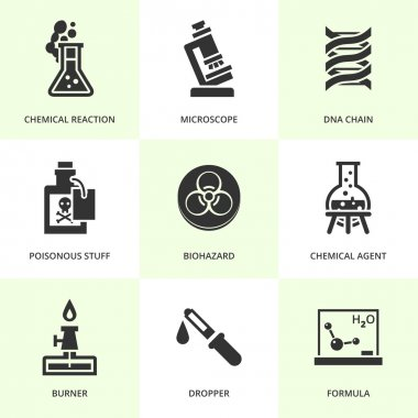 Set of black chemistry icons. Vector chemistry stuff and symbols in flat simple style. stock vector