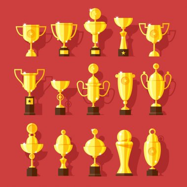 Vector icons set of golden sport award cups.