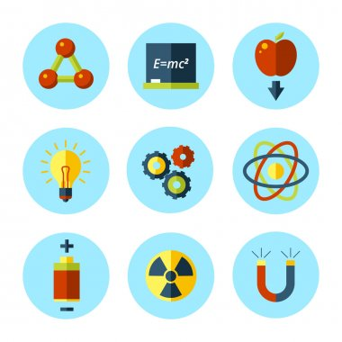 Vector physics icon set in modern flat style.