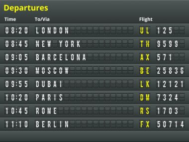 Airport departures table.