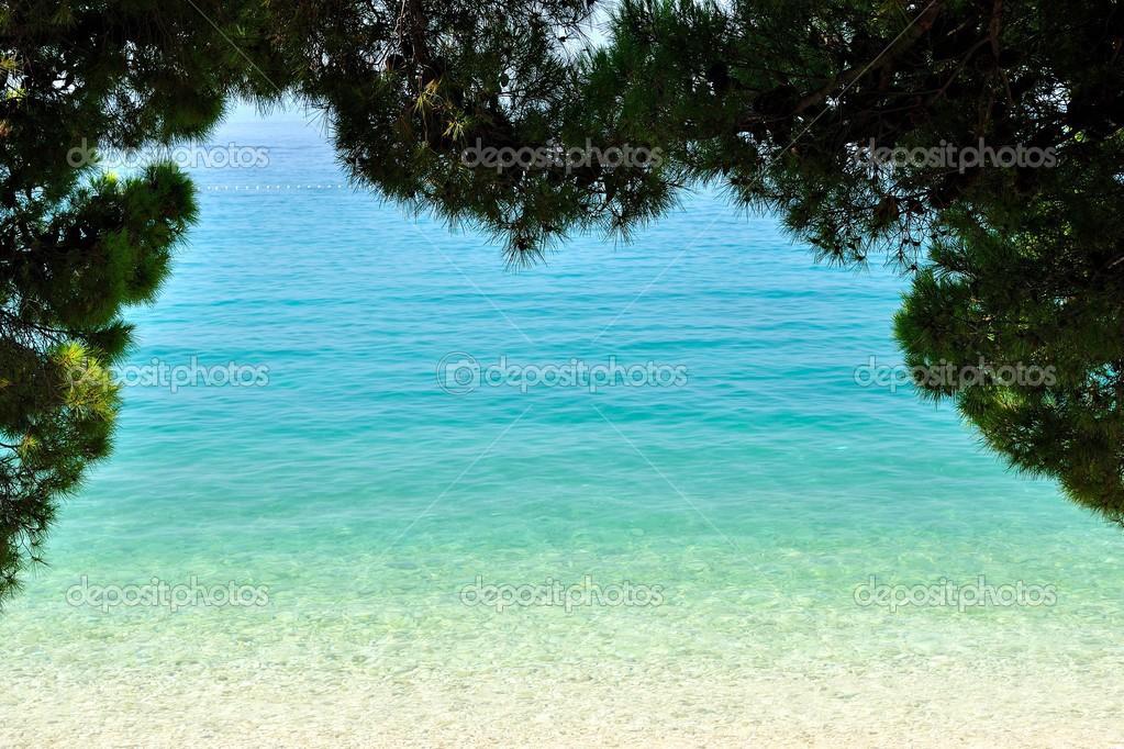 increíble tropical playa con aguas color turquesa y enmarcado por ...