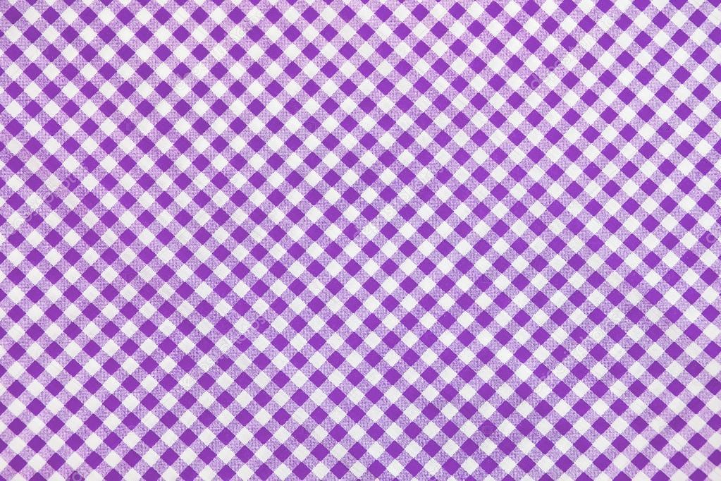Purple Plaid Fabric As Background Stock Photo