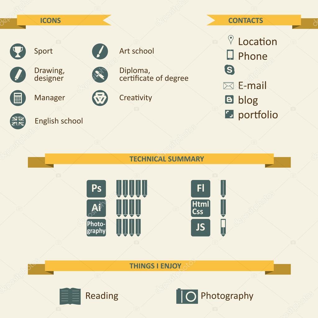 Infographic A Ikony Pro Zivotopis Stock Vektor C Celticlit 34752257