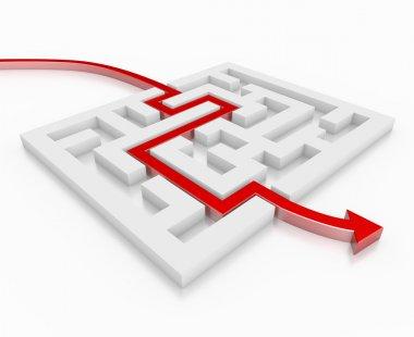 Red 3d arrow leads through a maze