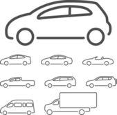 Fotografia set di icone vettoriali auto