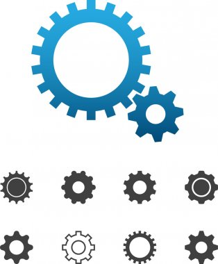 Cogwheel gear mechanism vector settings icon set
