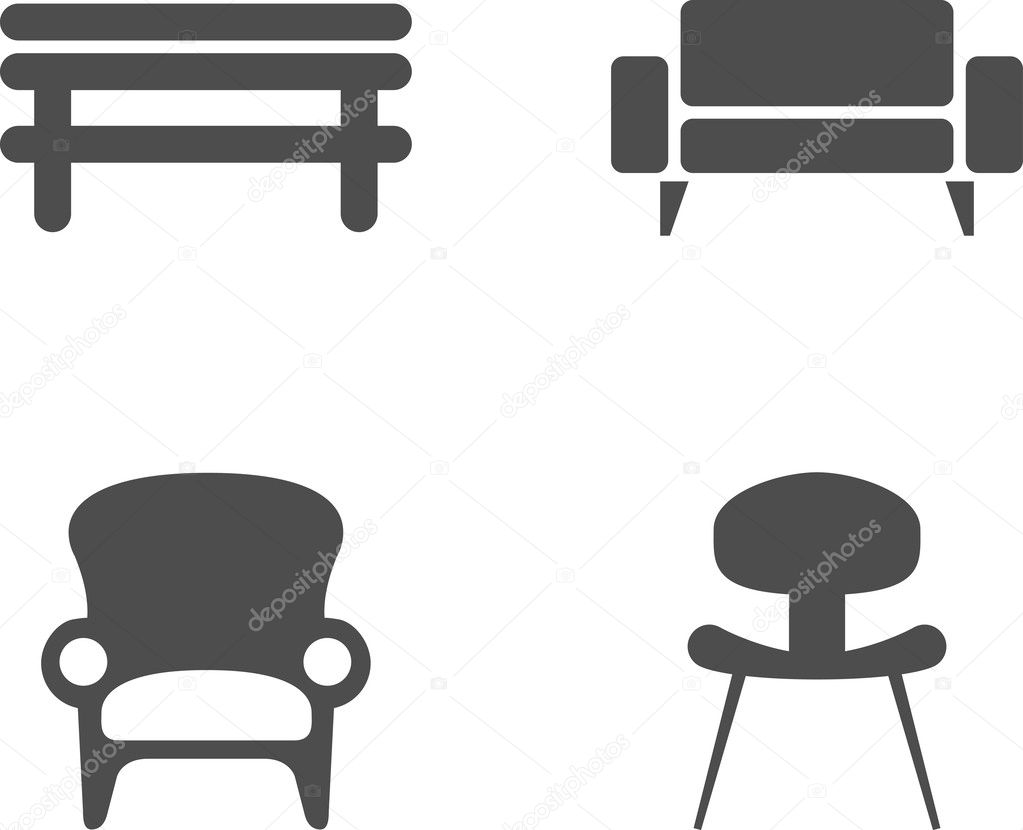 Vector Chair Icon Symbol Set Stock Vector 169 Mikefirsov