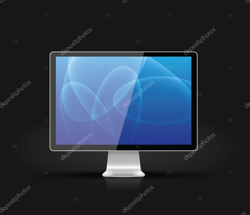 Vettore Sfondi Per Pc Scuri Monitor Di Computer Lucido Vettoriale