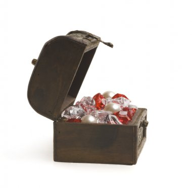 Open treasure chest with jewelry