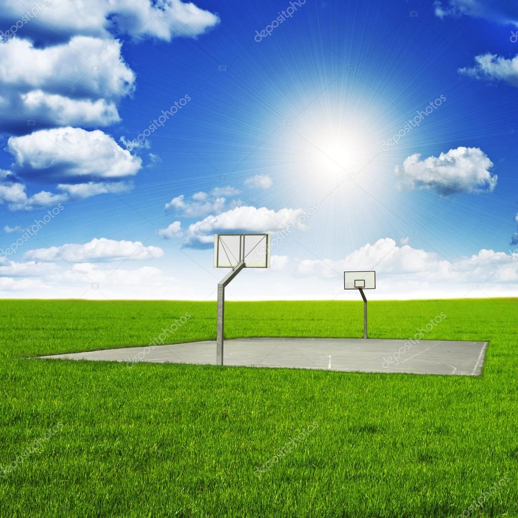 Basketball court amid beautiful scenery