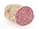Salami isolated on white
