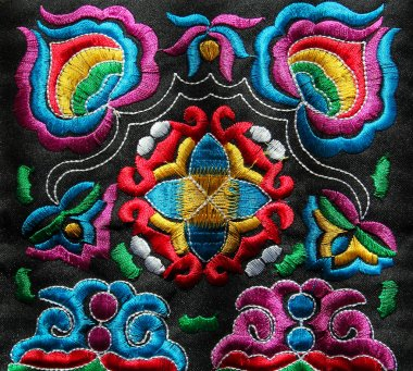 multicolor ethnic hand embroidery pattern