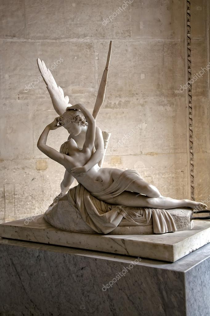 psyche revived by cupids kiss louvre paris � stock