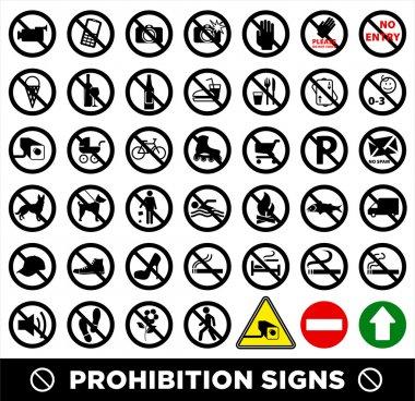 Prohibition signs set.