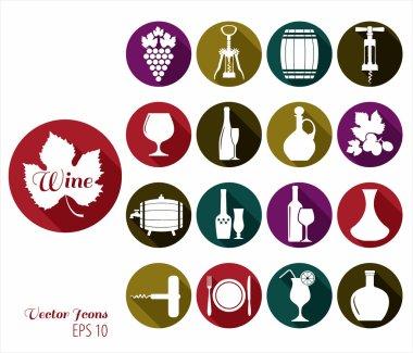 Wine flat icons