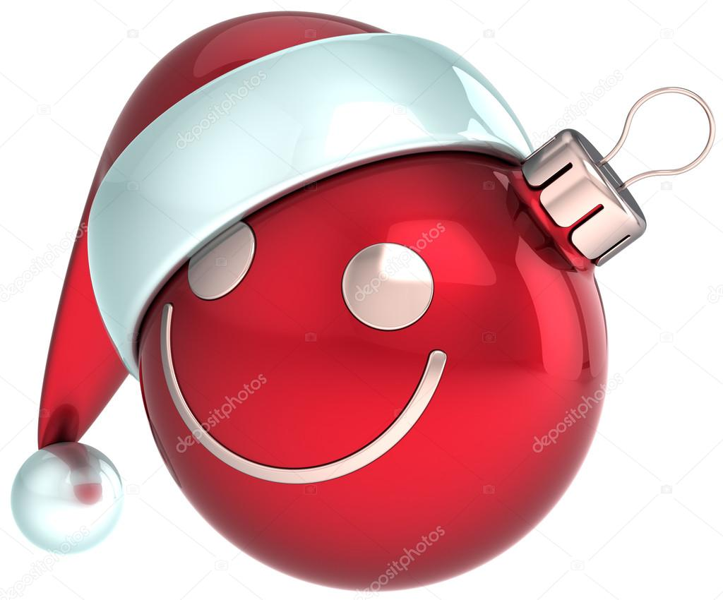 New Year smiley face Christmas ball red Happy Santa hat decoration. Happiness joy fun icon