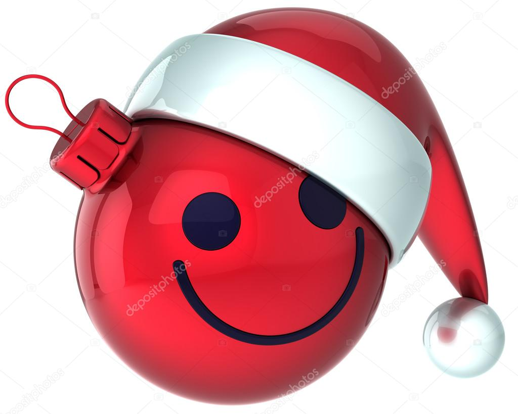 smiley face christmas ball red happy new year santa hat decoration rh depositphotos com Dancing Smiley Face Clip Art Yummy Smiley Face Clip Art