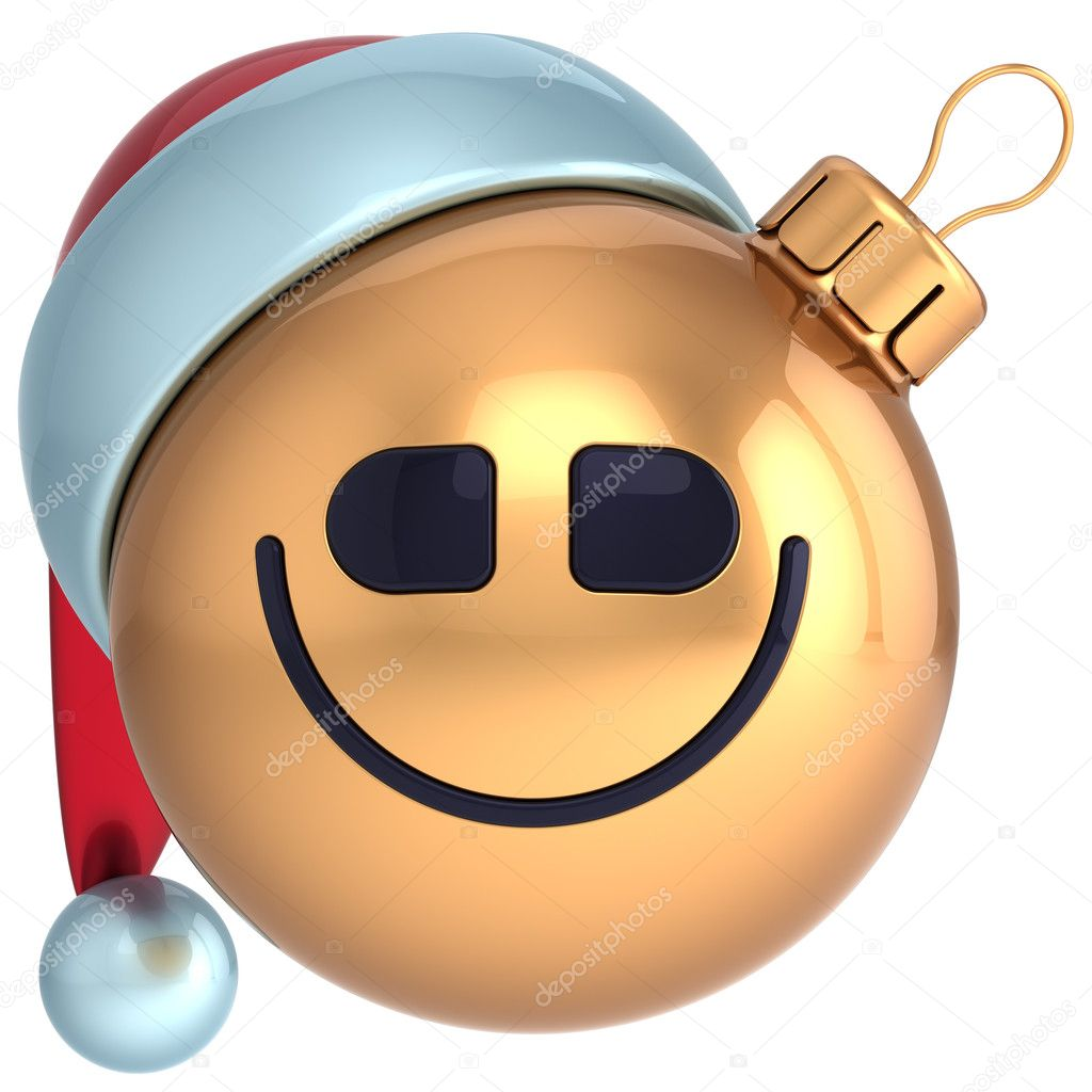 Smile Christmas ball New Year smiling bauble happy Santa hat smiley face icon decoration gold