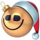 Christmas ball smile Happy New Year smiling bauble Santa hat smiley face icon decoration gold